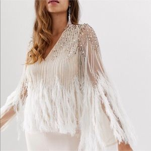 ASOS Beaded and Feather Blouse (NWT)